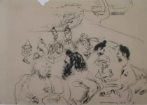 Deck Passengers - 1949 - 54 x 44 cm - Sketch On Paper